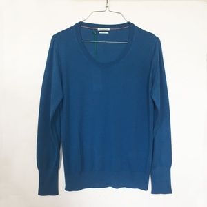 NWT: BENETTON Scoop Neck Sweater, Blue, XS